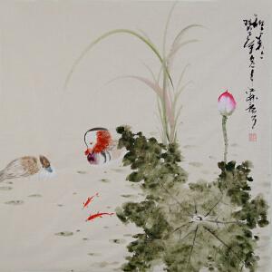 中国书画家协会会员 孔江林四尺斗方花鸟画gh01440