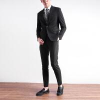 西装男套装修身韩版英伦风帅气外套男士商务正装西服新郎结婚礼服 黑色