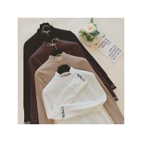 班图诗妮 字母半高领修身加绒T恤女 2018秋冬装新款纯色长袖内搭打底衫上衣