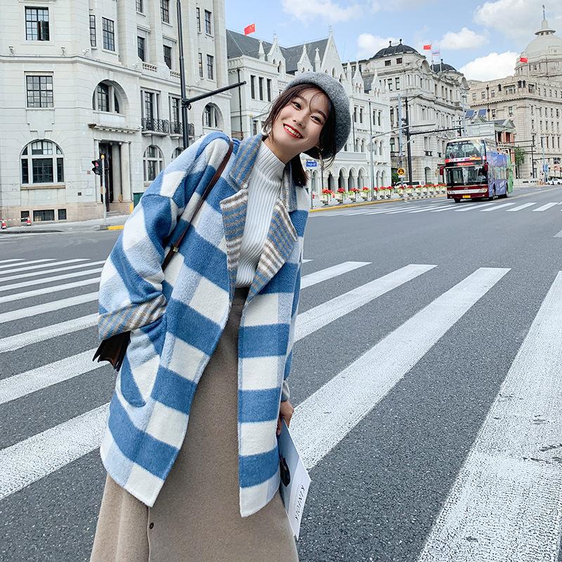 双面呢大衣女新款2018流行格子冬季中长款森系韩版妮子毛呢外套 天蓝色 XS
