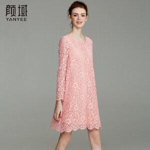颜域品牌女装2018春夏新款欧美七分袖礼服中长款凸花蕾丝连衣裙
