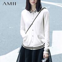 Amii[极简主义]羊毛针织开衫女棒球服薄款防晒外套空调衫