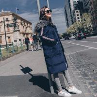 金丝绒棉衣女中长款韩版过膝羽绒冬装新款2018女士棉袄外套潮 深蓝色