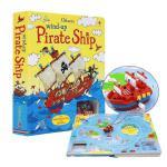 英文原版绘本 Wind-up Pirate Ship 发条海盗船发条轨道玩具书 Usborne 出版 启蒙0-3-6岁