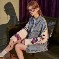 【直降】唐狮新款秋装牛仔女士短外套史努比IP拼接宽松休闲学院风上衣