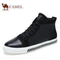 camel骆驼男鞋 秋冬新品 时尚休闲高帮板鞋牛皮男士潮流滑板鞋