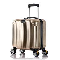 商务拉杆箱海关锁行旅箱ABS商务小型行李箱登机箱 16寸(箱套+贴纸)高配海关锁