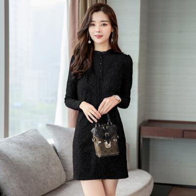 2018春装新款大码女装半高领蕾丝修身显瘦长袖打底衫包臂连衣裙秋