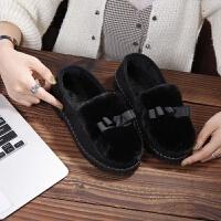 冬季毛毛棉鞋女老北京布鞋加绒豆豆鞋韩版保暖学生鞋平底一脚蹬