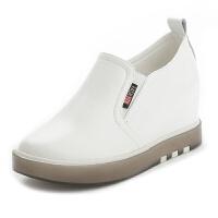 春夏季网鞋小白鞋女内增高女鞋子韩版一脚蹬高跟鞋女休闲单鞋