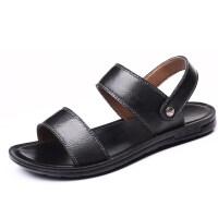男士凉鞋2019新款夏季牛皮厚底沙滩鞋两用拖鞋黑色一字拖鞋潮