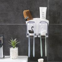 放牙刷牙膏水杯置物架牙刷情侣款双人漱口杯架放刷牙杯的架子卫生间欧式牙缸 情侣款(黑白天鹅)