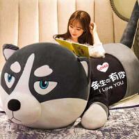 哈士奇公仔抱枕布娃娃可爱毛绒玩具狗熊女孩睡觉床上玩偶生日礼物