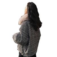 千鸟格毛呢外套女短款秋冬季新款韩版宽松可拆大毛领chic原宿外套 图片色