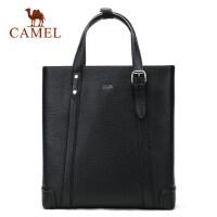 Camel/骆驼男包男士手提包竖款商务休闲牛皮托特包公文男包包