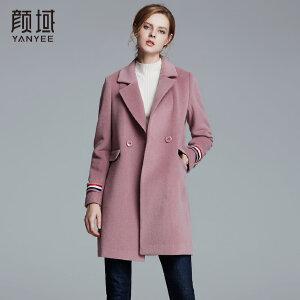 颜域品牌女装2017冬季新款宽松羊毛呢子中长款直筒大衣毛呢外套女