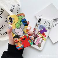 潮牌个性卡通苹果Xs Max/XR手机壳7plus/8/6s硬壳情侣款 I6/6s 全包硬壳 WHITE芝麻街