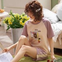 纯棉睡衣女士夏季短袖套装薄款宽松型家居服两件套可外穿 5224图片时尚款