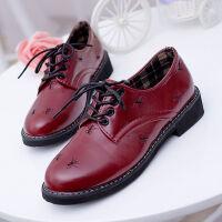 新款韩版复古马丁靴女英伦风平底内增高靴子百搭单鞋短靴秋 处理款红色黑色