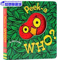 【78�x3】英文原版�L本 Peek A Who 猜猜我是�l0-3�q童���M口�板�� �和��⒚� 躲��故事洞洞翻翻玩具�� �H