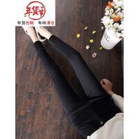 高腰黑色加绒加厚牛仔裤女冬季2018新款韩版大码显瘦带绒外穿小脚