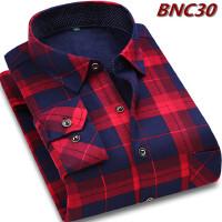 秋冬保暖男衬衫加绒加厚中老年人男装中年爸爸老人长袖衬衣带绒毛2018新品 红色 BNC30