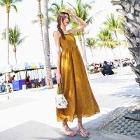 2018夏季波西米亚度假沙滩裙绑带高腰连衣裙小波点长裙 黄色