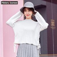 美特斯邦威毛衣女士冬装新款甜美时尚小高领绑带灯笼袖毛衫