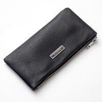 钱包男士长款拉链手拿包软皮大容量青年手包钱夹个性手机包潮 (真皮版)