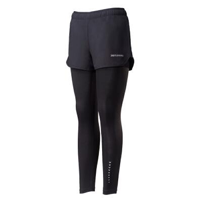 361度2018秋季新款运动薄款长裤紧身跑步透气假两件九分裤女