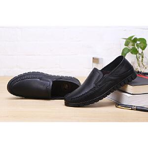 骆驼牌 男鞋 新款轻便休闲驾车鞋低帮皮鞋男套脚乐福鞋