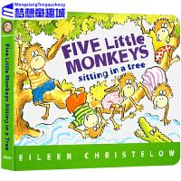 【78�x3】Five Little Monkeys 五只小猴在�渖� 英文原版�L本0 3�q Sitting in a Tr
