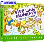 五只小猴在树上 英文原版绘本 Five Little Monkeys Sitting in a Tree 纸板书 廖彩