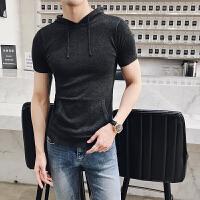 夏款男士薄针织短袖时尚口袋装饰时尚青年帅气修身纯色连帽t恤衫