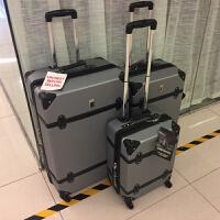 手拉箱 复古拉杆箱可扩展万向轮登机旅行箱男女 托运箱 伦敦雾 灰色
