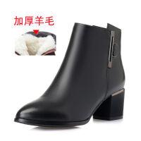 皮鞋女中跟冬季新款加绒短靴粗跟女士妈妈鞋高跟时尚休闲棉鞋