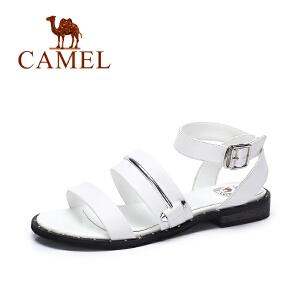【跨店每满200减100】camel骆驼女鞋  夏季新款 休闲百搭低跟罗马凉鞋 皮带扣凉鞋