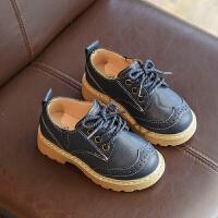 英伦风男宝宝皮鞋1-3岁男童豆豆鞋女小童鞋儿童鞋子春秋单鞋黑色 蓝色 YQF8