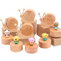 木制创意旋转卡通动物音乐盒榉木蜗牛音乐玩具木质工艺品新