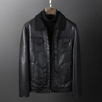 男士皮衣短款皮夹克修身韩版冬季加绒加厚外套青年pu皮翻领机服潮 黑色