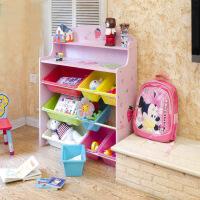 彩色 加大加宽草莓儿童儿童收纳储物玩具书架 蓝色粉色两款