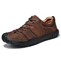男鞋真皮男鞋男士户外休闲鞋徒步鞋头层牛皮旅游鞋防滑耐磨登山鞋