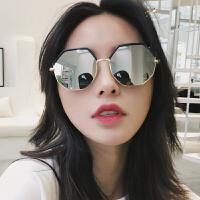 女多边形半框镜面反光太阳镜圆脸复古原宿风眼镜