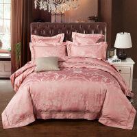 贡缎提花镂空花边四件套欧式风格纬纱全棉床上用品套件