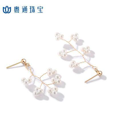 粤通珠宝925银针树枝珍珠不对称耳钉气质仙女耳饰 精美包装