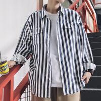 秋冬长袖韩版男士衬衣条纹免烫处理长袖衬衫个性色织布衬衫