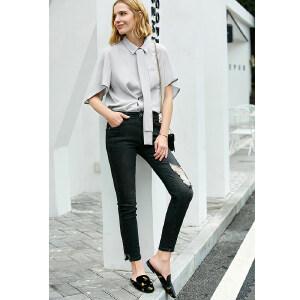 【到手价99.9元】Amii极简社会洋气chic衬衫女2019夏季新款厚雪纺配腰带蝙蝠袖上衣