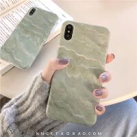 玉色大理石苹果x手机壳iphone8plus软壳xs max新款6s/7/xr硅胶女 i6/6s 光面绿底大理石