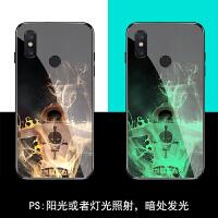 小米6/6x/5/5x夜光玻璃镜面手机壳mix2/mix2s/mix3/max3防摔钢化硅胶软保护套 小米6 艾斯(6