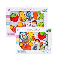 新初生婴儿满月玩具磨牙益智6-12个月婴儿硅胶可水煮牙胶摇铃礼盒